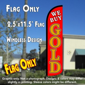 WE BUY GOLD (Red) Windless Feather Banner Flag (2.5 x 11.5 Feet)