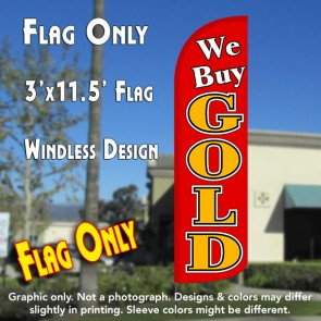 We Buy Gold (Red) Windless Polyknit Feather Flag (3 x 11.5 feet)