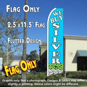 WE BUY SILVER (Blue) Flutter Feather Banner Flag (11.5 x 2.5 Feet)