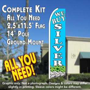WE BUY SILVER (Blue) Flutter Feather Banner Flag Kit (Flag, Pole, & Ground Mt)
