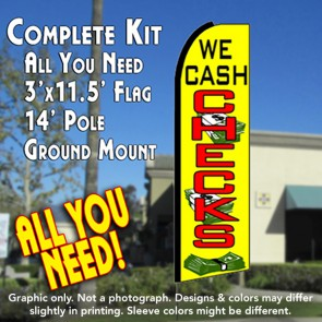 WE CASH CHECKS (Yellow) Flutter Feather Banner Flag Kit (Flag, Pole, & Ground Mt)
