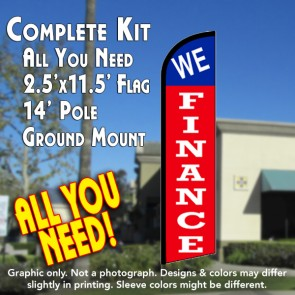 WE FINANCE (Blue/Red) Windless Feather Banner Flag Kit (Flag, Pole, & Ground Mt)