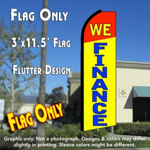 WE FINANCE (Red/Yellow) Flutter Feather Banner Flag (11.5 x 3 Feet)
