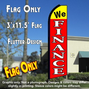 WE FINANCE (Yellow/Red) Flutter Feather Banner Flag (11.5 x 3 Feet)
