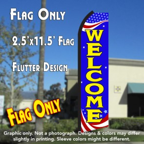 WELCOME (Patriotic) Flutter Polyknit Feather Flag (11.5 x 2.5 feet)