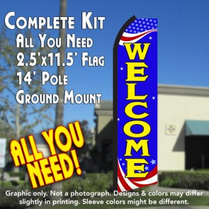 WELCOME (Patriotic) Flutter Feather Banner Flag Kit (Flag, Pole, & Ground Mt)