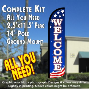WELCOME (Patriotic White) Windless Feather Banner Flag Kit (Flag, Pole, & Ground Mt)