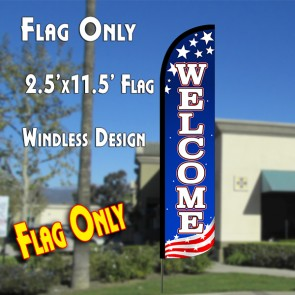 WELCOME (Patriotic White) Windless Polyknit Feather Flag (2.5 x 11.5 feet)