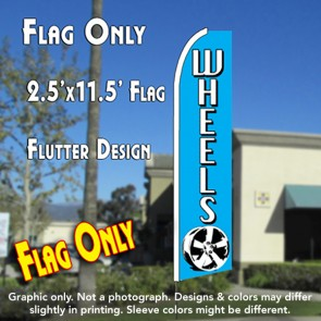 WHEELS (Blue) Flutter Feather Banner Flag (11.5 x 2.5 Feet)