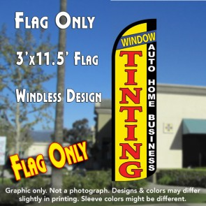 WINDOW TINTING Auto Home Business (Yellow/Black) Flutter Polyknit Feather Flag (11.5 x 2.5 feet)
