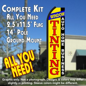 WINDOW TINTING Auto Home Business (Yellow/Black) Flutter Feather Banner Flag Kit (Flag, Pole, & Ground Mt)