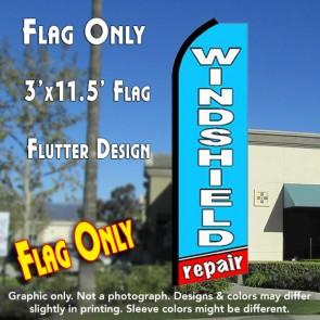 WINDSHIELD REPAIR (Blue/Red) Flutter Feather Banner Flag (11.5 x 3 Feet)