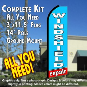 WINDSHIELD REPAIR (Blue/Red)  Flutter Feather Banner Flag Kit (Flag, Pole, & Ground Mt)