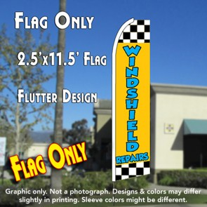 WINDSHIELD REPAIR (Checkered) Flutter Feather Banner Flag (11.5 x 2.5 Feet)