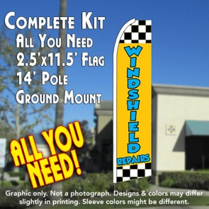 WINDSHIELD REPAIR (Checkered) Flutter Feather Banner Flag Kit (Flag, Pole, & Ground Mt)
