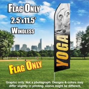 YOGA gray yellow flutter flag
