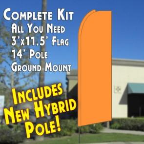 Solid NEON ORANGE Flutter Feather Banner Flag Kit (Flag, Pole, & Ground Mt)