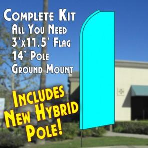 Solid CYAN (Light Blue) Flutter Feather Banner Flag Kit (Flag, Pole, & Ground Mt)