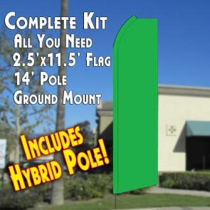 Solid GREEN Flutter Feather Banner Flag Kit (Flag, Pole, & Ground Mt)
