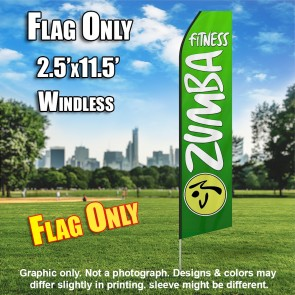 ZUMBA FITNESS green white flutter flag