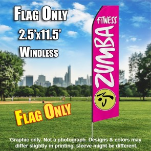 ZUMBA FITNESS hot pink white flutter flag