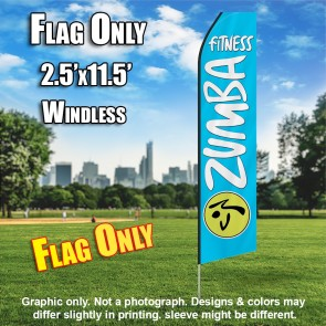 ZUMBA FITNESS light blue white flutter flag