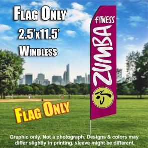 ZUMBA FITNESS magenta white flutter flag
