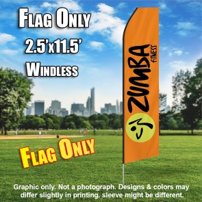 ZUMBA FITNESS orange black flutter flag