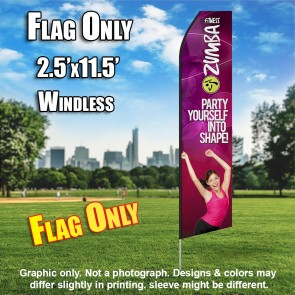 ZUMBA FITNESS party yourself into shape flutter flag