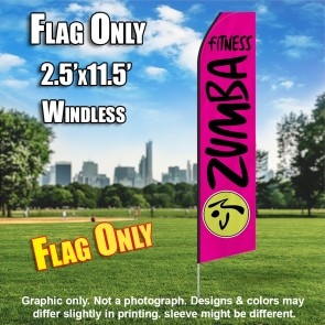 ZUMBA FITNESS hot pink black flutter flag