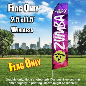 ZUMBA FITNESS pink bubbles white flutter flag