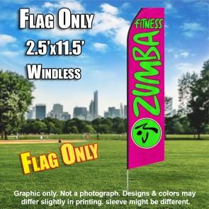 ZUMBA FITNESS pink neon green flutter flag