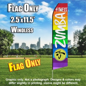 ZUMBA FITNESS rainbow colored white flutter flag