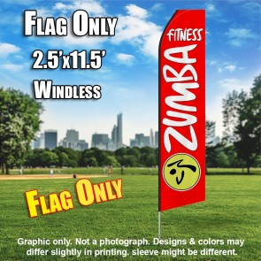 ZUMBA FITNESS red white flutter flag