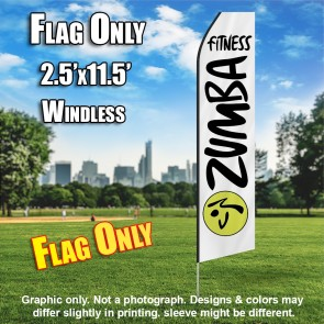 ZUMBA FITNESS white black flutter flag