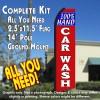 100% HAND CAR WASH (Blue/Red) Flutter Feather Banner Flag Kit (Flag, Pole, & Ground Mt)