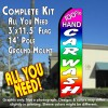100% HAND CAR WASH (Multi-colored) Flutter Feather Banner Flag Kit (Flag, Pole, & Ground Mt)