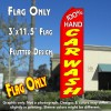 100% HAND CAR WASH (Red) Flutter Feather Banner Flag (11.5 x 3 Feet)