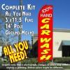100% HAND CAR WASH (Red) Flutter Feather Banner Flag Kit (Flag, Pole, & Ground Mt)