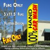 100% HAND CAR WASH (Yellow) Flutter Feather Banner Flag (11.5 x 3 Feet)