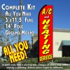 A/C & HEATING SERVICE (Red) Flutter Feather Banner Flag Kit (Flag, Pole, & Ground Mt)