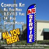 A/C SERVICE (Blue/Checks) Windless Feather Banner Flag Kit (Flag, Pole, & Ground Mt)