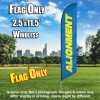 Alignment (Blue/Yellow) Windless Polyknit Feather Flag Only (3 x 11.5 feet)