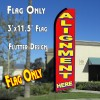 ALIGNMENT HERE (Red) Flutter Feather Banner Flag (11.5 x 3 Feet)