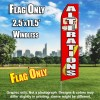 Alterations (Red/White) Flutter Feather Flag Only (3 x 11.5 feet)