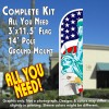 America's Symbols Windless Feather Banner Flag Kit (Flag, Pole, & Ground Mt)
