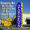 APARTMENTS 1 & 2 BEDROOMS (Blue/Yellow) Flutter Feather Banner Flag Kit (Flag, Pole, & Ground Mt)