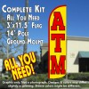 ATM (Yellow/Red) Windless Feather Banner Flag Kit (Flag, Pole, & Ground Mt)
