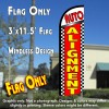 Auto Alignment (Checkered) Windless Feather Banner Flag Kit (Flag, Pole, & Ground Mt)