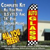 AUTO GLASS (Red/Checkered) Flutter Feather Banner Flag Kit (Flag, Pole, & Ground Mt)